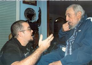 Fidel Castro y Randy Perdomo, presidente de la FEU